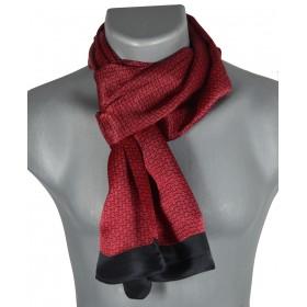 Foulard homme en soie maille rouge noir