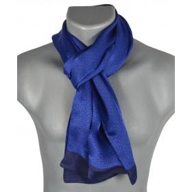 Foulard homme en soie maille bleu