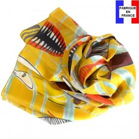 Echarpe en soie Leleu - Poissons vs jaune