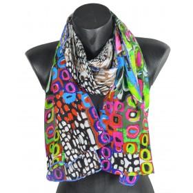 Echarpe en soie abstrait multicolore