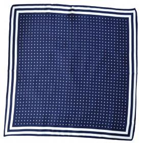 Petit carré en soie bleu pois blancs