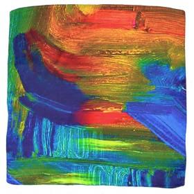 Petit carré en soie multicolore abstrait