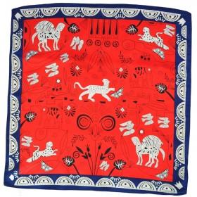 Petit carré en soie animaux fond rouge