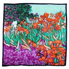 Carré de soie Les iris de Van Gogh vert-rouge