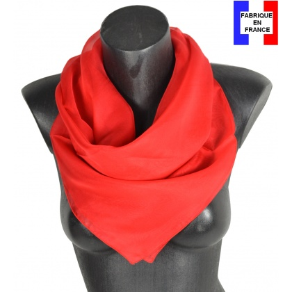Carré en soie 88cm rouge made in France