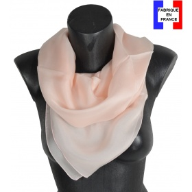 Carré en soie 88cm rose clair made in France