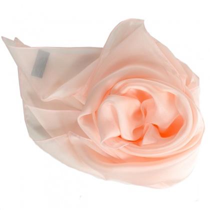 Carré en soie 88cm rose clair made in France
