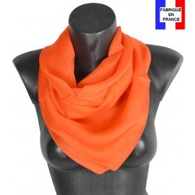 Carré en soie 88cm orange made in France