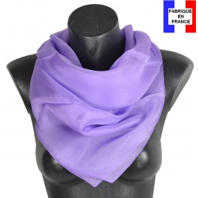 Carré en soie 88cm mauve made in France