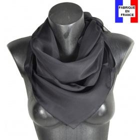 Carré en soie 88cm noir made in France