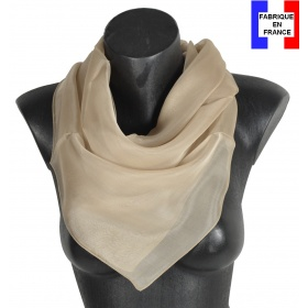 Carré en soie 88cm beige made in France