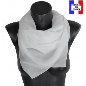 Carré en soie 90cm blanc made in France