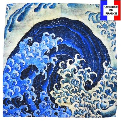 Carré de soie Hokusai – Vague féminine