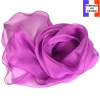 Foulard ondulé soie rose foncé made in France