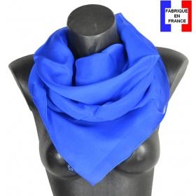 Carré en soie 88cm bleu electrique made in France