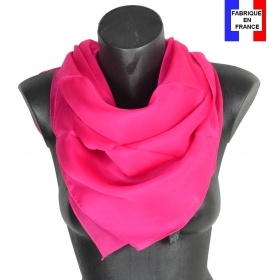 Carré en soie 88cm fuchsia made in France