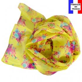 Foulard en soie Bouquet jaune made in France