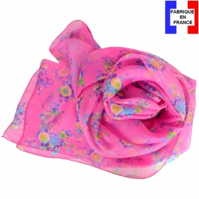 Foulard en soie Bouquet rose made in France