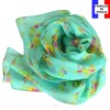 Foulard en soie Bouquet turquoise made in France