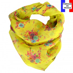 Carré soie Bouquet jaune made in France