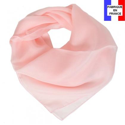 Carré en soie 65cm rose clair made in France
