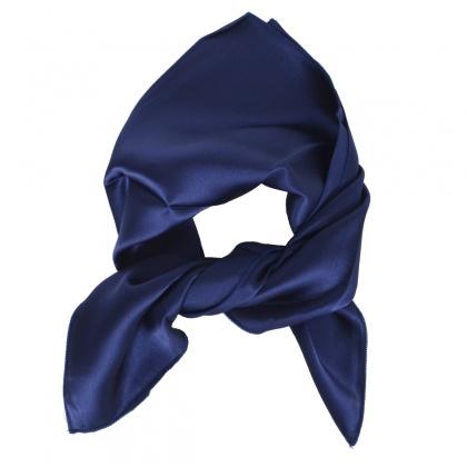 Petit carré en soie bleu marine