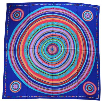 Carré soie cercle bleu