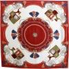 Carré de soie calèches rouge
