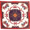 Carré de soie calèches rouge et bleu