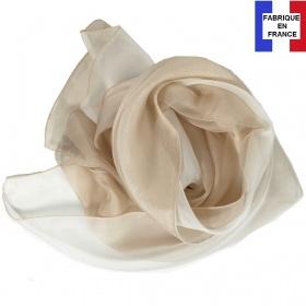 Foulard en soie bi-bandes, beige made in France