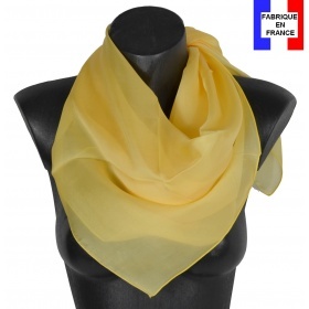 Carré en soie 88cm jaune made in France