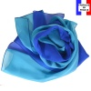 Foulard en soie bi-bandes bleu-turquoise