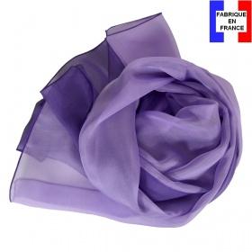 Foulard en soie bi-bandes violet-mauve made in France