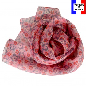 Foulard soie Flowers rose made in France