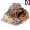 Foulard soie Flowers rose poudré made in France