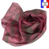 Foulard soie Palmettes rose made in France