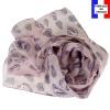 Foulard soie Empreintes rose made in France