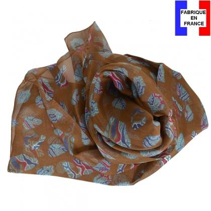Foulard soie Empreintes marron