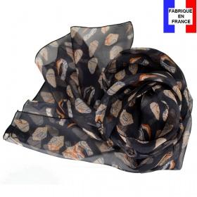 Foulard soie Empreintes noir made in France
