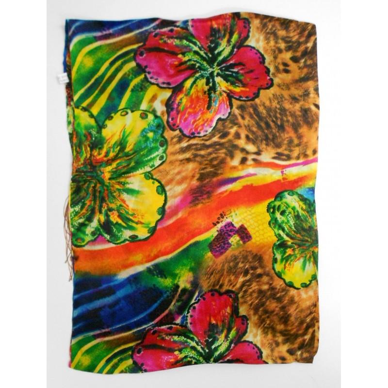 Echarpe en soie à fleurs