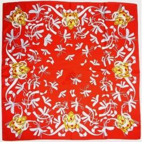 Carré en twill de soie rouge
