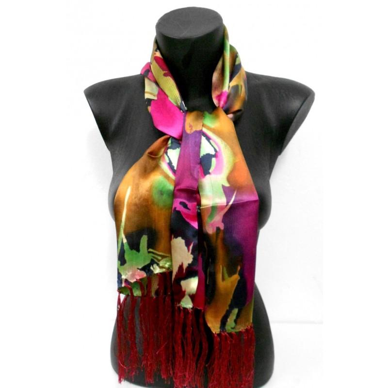 Echarpe en soie rose et verte