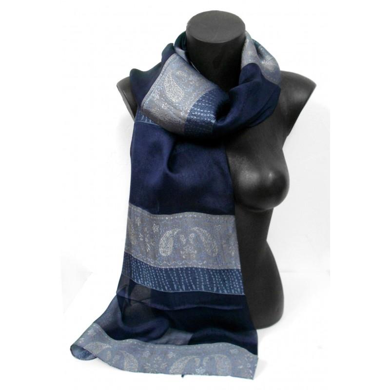 Foulard en soie bleu marine
