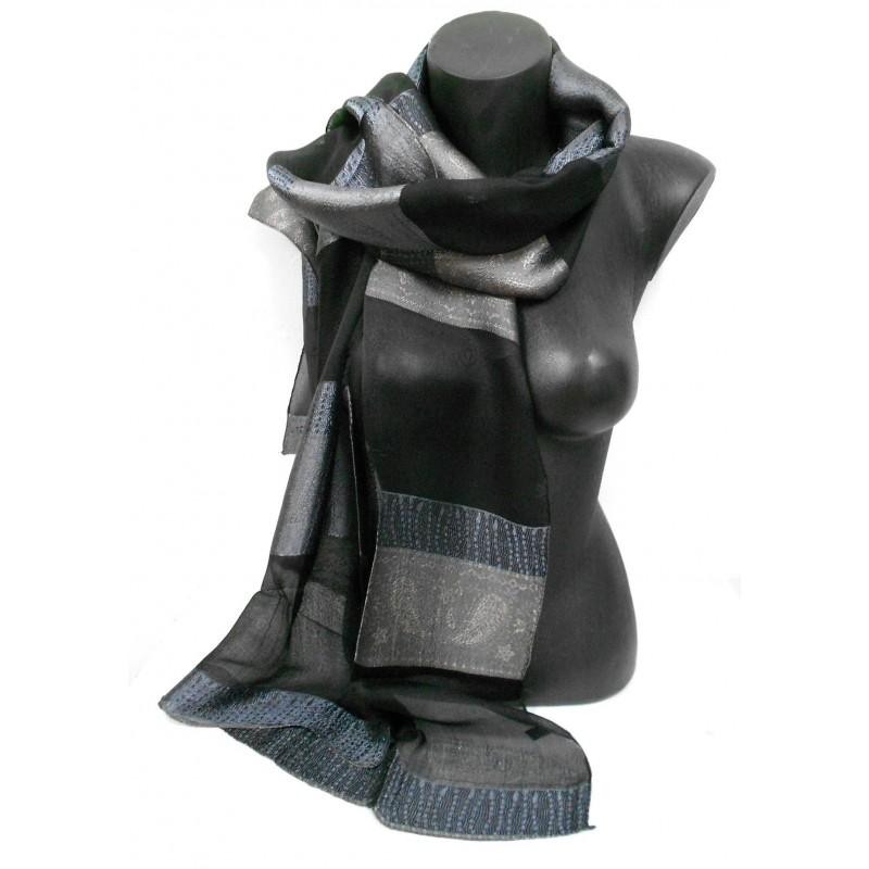 Foulard en soie noir et gris