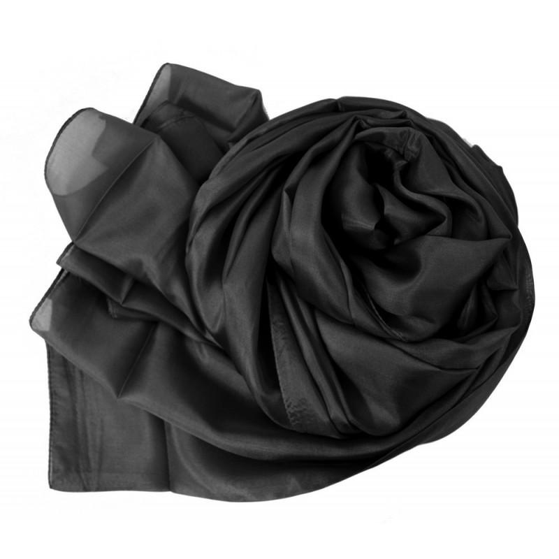 Etole en mousseline de soie noire