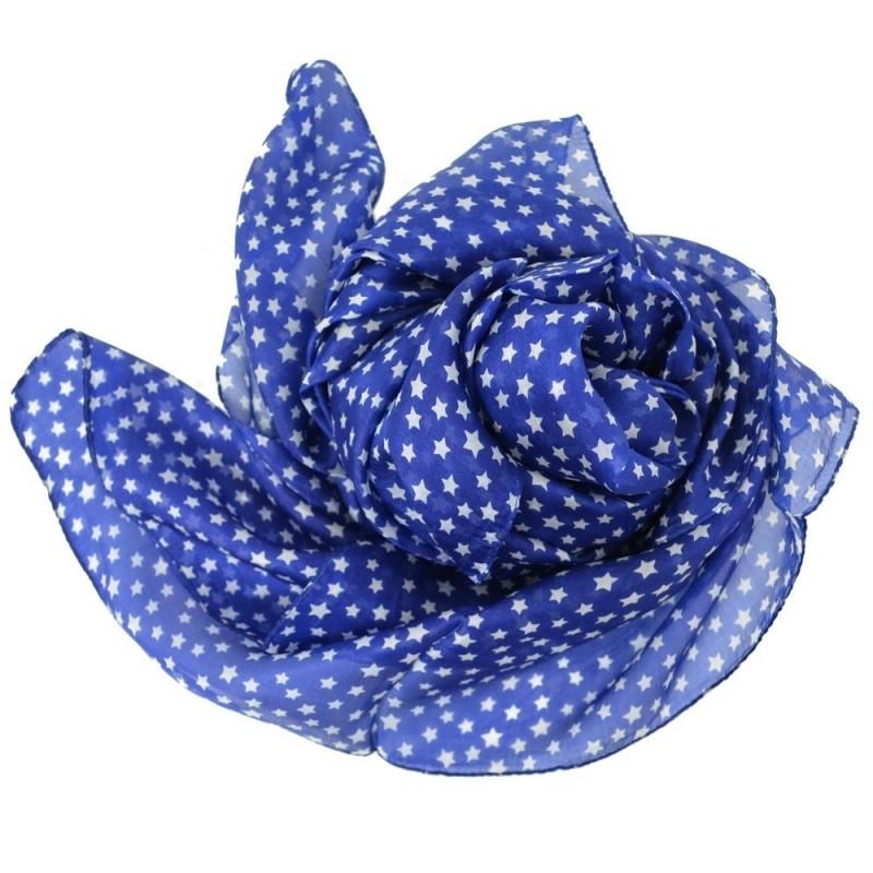 Grand carré en soie bleu imp. étoiles
