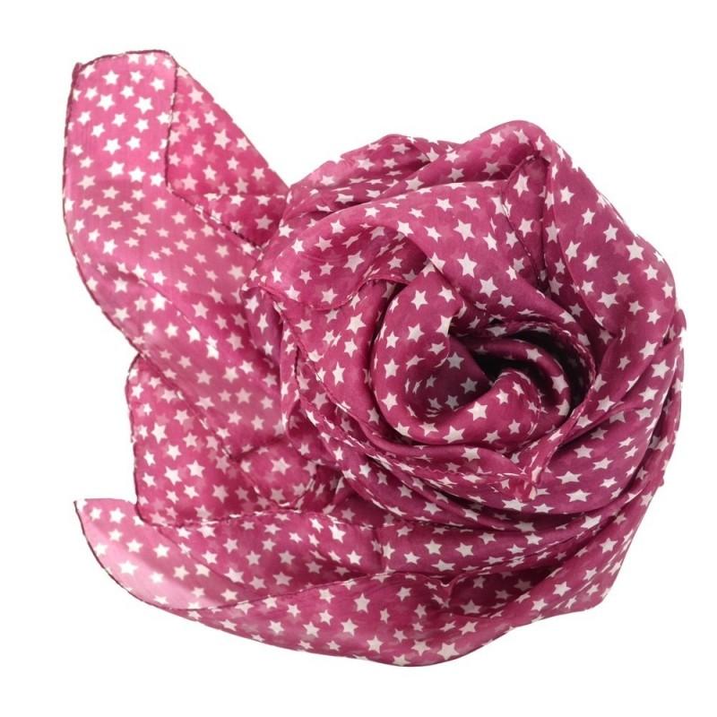 Grand carré en soie rose foncé imp. étoiles