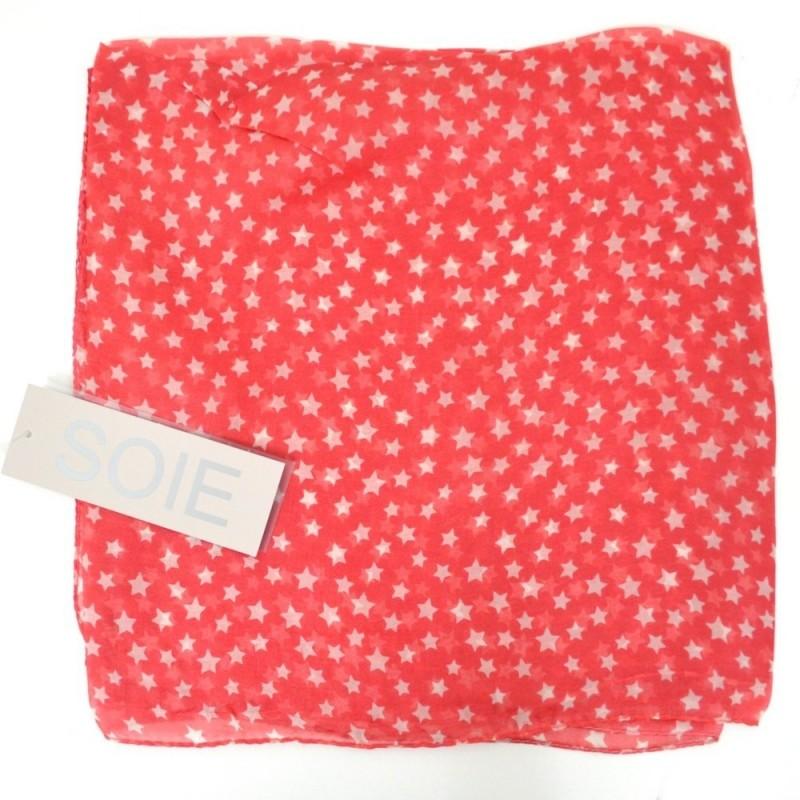 Grand carré en soie rouge clair imp. étoiles