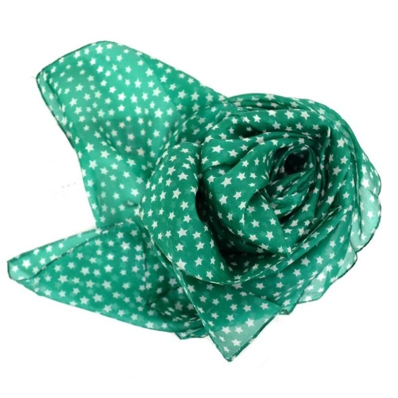 Grand carré en soie vert imp. étoiles