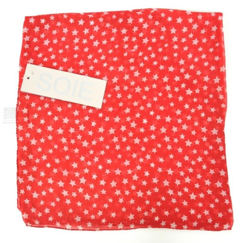 Grand carré en soie rouge imp. étoiles